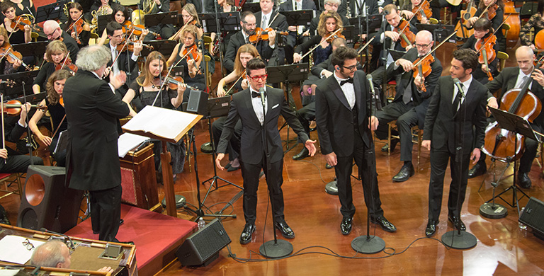 Maestro Diego Basso conducts the Orchestra for the Il Volo European tour 'Notte Magica'